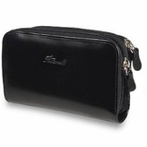 Fontanelli Black Polished Calf Leather Zip Wallet