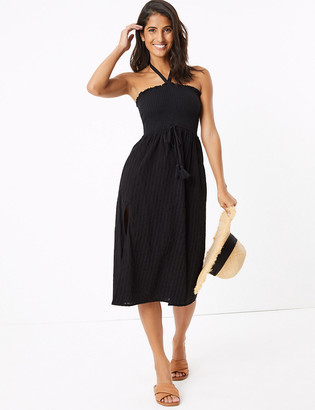 Marks and Spencer Pure Cotton Woven Shirred Midi Beach Dress