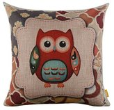 """LINKWELL 18"""" x 18"""" inches Forest Cute Owl Design for Kid Room Decor Burlap Pillowcase Cushion Cover"""