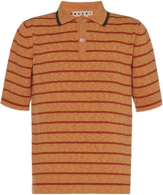 Marni Striped Cotton-Jersey Polo Shirt