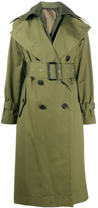 Sacai Layered-Effect Belted Trench Coat
