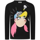 Moschino MoschinoGirl Print Black Jersey Top