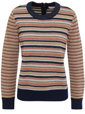 Tory Burch Metallic Striped Knitted Sweater
