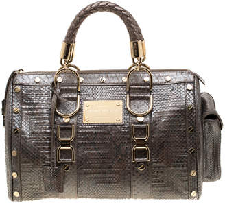 Versace Grey Quilted Python Snap Out Of It Satchel