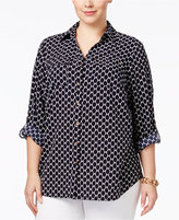 Charter Club Plus Size Printed Blouse, Only at Macy's