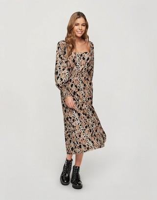 Miss Selfridge shirred midi dress in animal print