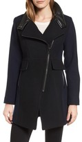 Trina Turk Women's Eleanor Leather Trim Wool Blend Coat