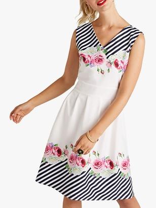Yumi Mirror Floral Stripe Skater Dress, Ivory
