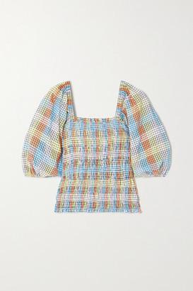 Ganni Shirred Checked Cotton-blend Seersucker Top - Light blue