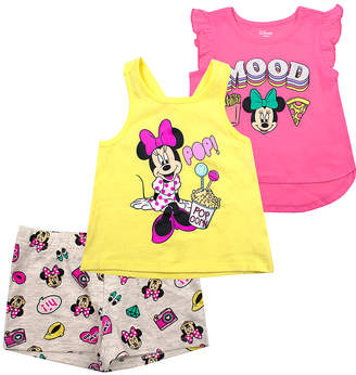 Children's Apparel Network Girls' Casual Shorts PINK - Minnie Mouse Pink & Yellow 'Mood' Shorts Set - Infant