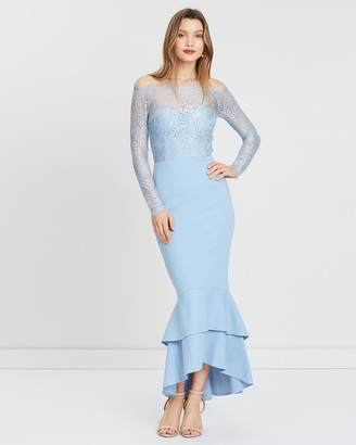 Miss Holly - Women's Blue Off the Shoulder Dresses - Gemma Dress - Size One Size, XS at The Iconic