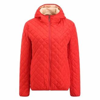 Lazzboy Women Jacket Coat Puffer Quilted Winter Warm Fleece Lining Hooded Zipper Outerwear UK 6-14(XL(12)