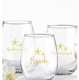 Kate Aspen Set of 4) Bride And Bridesmaids Beach Tides 15 Oz. Stemless Wine Glass