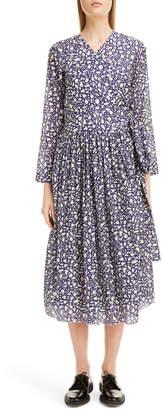 Sara Lanzi Snake Print Long Sleeve Midi Dress