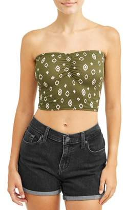 No Comment Juniors' Yummy Printed Cinched Front Tube Top