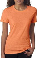 Next Level Apparel Ladies Short Sleeve Slub T-Shirt (Neon Heather Orange)