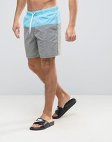 Asos Swim Shorts In Gray/Blue With Acid Wash In Mid Length