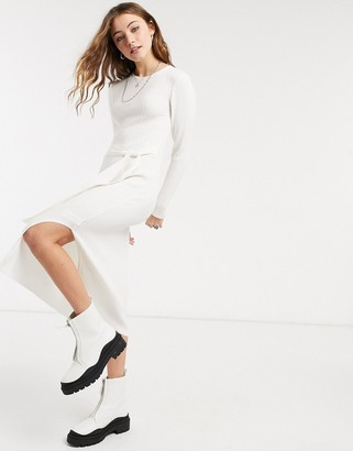 ASOS DESIGN knitted rib long dress in cream