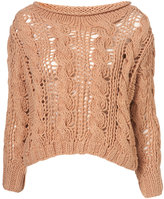 Topshop Rose Hand Knit Open Crop Cable Jumper