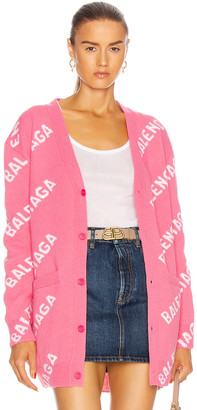Balenciaga Long Sleeve Logo Cardigan in Pink & White | FWRD