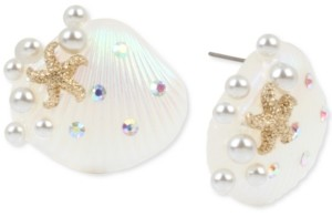Betsey Johnson Gold-Tone Pave & Imitation Pearl Seashell Button Earrings