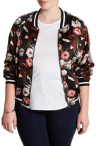 Jolt Sheer Floral Bomber Jacket (Plus Size)