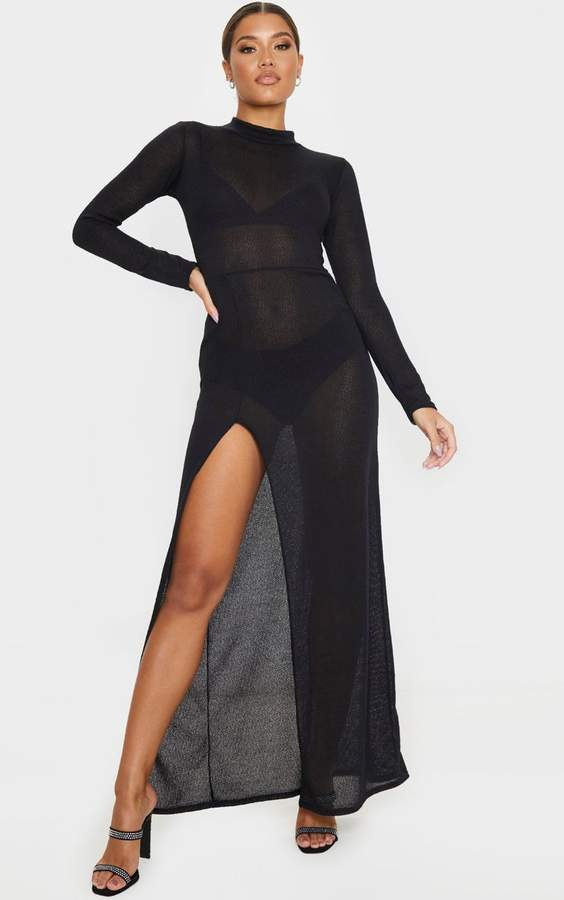 PrettyLittleThing Black Knitted Maxi Dress With Side Split