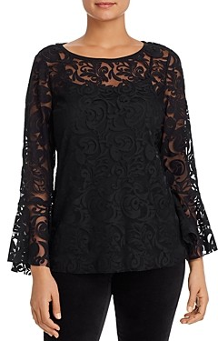 Nic+Zoe Lace Bell-Sleeve Top