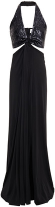 Galvan Eclipse Cutout Sequin-embellished Stretch-jersey Gown