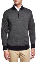 Peter Millar Cashmere-Blend Quarter-Zip Birdseye Sweater, Dark Blue
