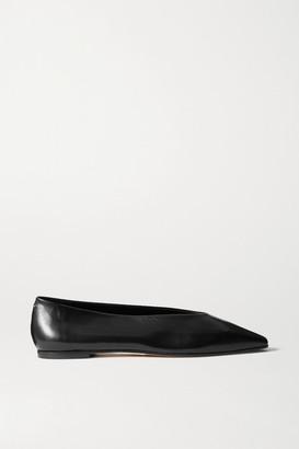 AEYDĒ Betty Leather Flats - Black