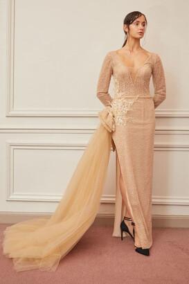 Gatti Nolli by Marwan Long Sleeve Scoop Neck Slit Gown