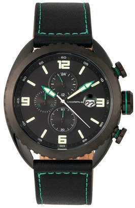Morphic M64 Series, Black Case, Chronograph Green Piped Black Leather Band Watch w/ Date, 48mm