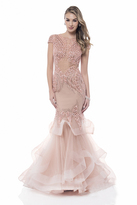 Terani Evening - Cap Sleeve Sparkling Tiered Mermaid Gown 1522GL0839A