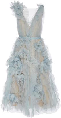 Marchesa Sleeveless Ruffled Organza Midi Dress