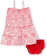 Sweet & Soft White & Red Geo A-Line Dress & Diaper Cover - Infant