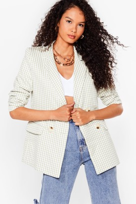 Nasty Gal Womens The Checks in the Mail Double Breasted Blazer - Green - 4