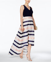 Adrianna Papell Striped High-Low Gown