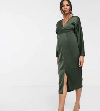 ASOS DESIGN Maternity midi dress with batwing sleeve and wrap waist in satin