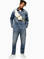 TopmanTopman Mid Wash Denim Boiler Suit