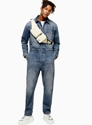 TopmanTopman Mid Wash Denim Boiler Suit