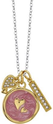Lovethislife LovethisLife Two-Tone Double Heart & Bar Pendant Necklace