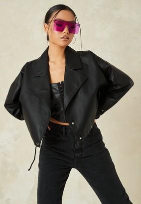 Missguided Black Faux Leather Slouch Biker Jacket