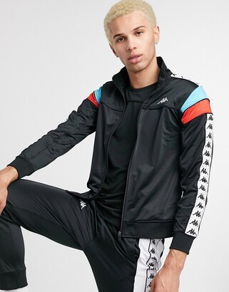 Kappa 222 banda merez slim track jacket with side taping in black