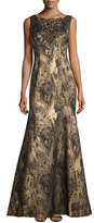 Theia Sleeveless Embellished Metallic Gown, Navy/Gold