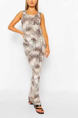 boohoo Tall Basic Animal Print Maxi Dress