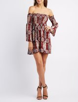 Charlotte Russe Floral Smocked Off-The-Shoulder Dress
