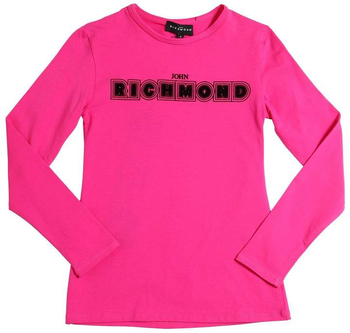 John Richmond Flocked Printed Cotton Jersey T-Shirt