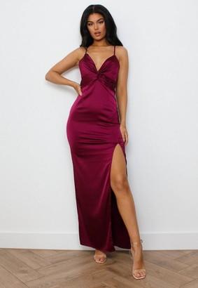 Missguided Burgundy Satin Twist Front Maxi Dress