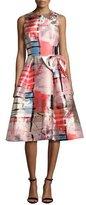 Rickie Freeman For Teri Jon Sleeveless Metallic Printed Gazar Cocktail Dress